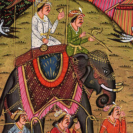 M B Sharma - Rajput King Handmade Painting Drawing Elephant Ride Scene Animal Art Work Indian,Watercolor Painting