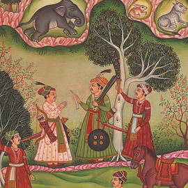 A K Mundra - Rajput Royal king miniature forest Hunting Scene Watercolor Artwork