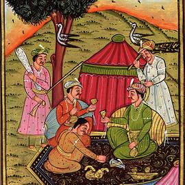 M B Sharma - Rajput Royal King Vintage Old n Paper Art Miniature Forest Picnic Painting, Artwork Indian.