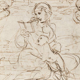 Reading Madonna and Child in a Landscape betweem two Cherub Heads - Raphael
