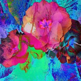 Dorothy Berry-Lound - Red and Blue Floral Abstract