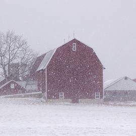 Randall Nyhof - Red Barn in a Snowstorm
