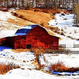 Carol R Montoya - Red Barn In Snow Painted