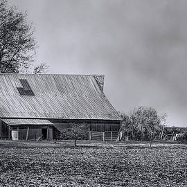 Theresa Campbell - Red Barn In Winter BW