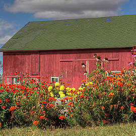 William Sturgell - Red Barn with Flowers