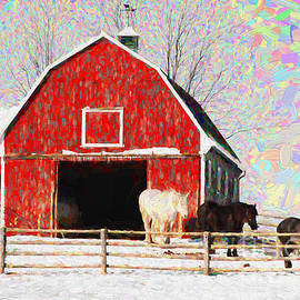 Red barn with horses - V3
