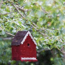 Red Birdhouse Painterly Effect - Carol Leigh