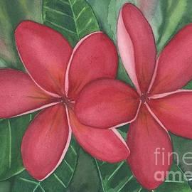 Hao Aiken - Red Blooms - Plumeria Watercolor