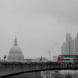 Alan Armstrong - The City Skyline And A Red Bus On Waterloo Bridge London UK