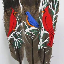 Jeffrey Koss - Red Cardinals on Turkey Feathers