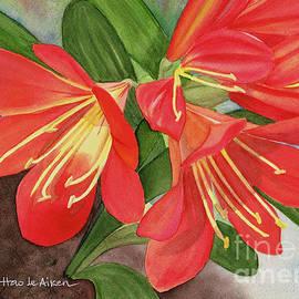 Hao Aiken - Red Clivias - Watercolor