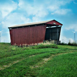 Kathy Krause - Red Covered Bridge And Wind Turbins