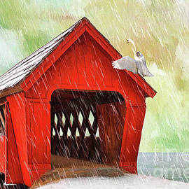 L Wright - Red Covered Bridge In The Winter