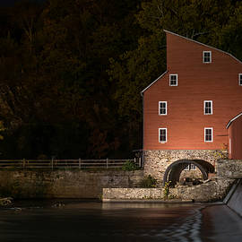 Terry DeLuco - Red Mill at Night Clinton New Jersey