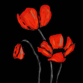 Sharon Cummings - Red Poppies On Black by Sharon Cummings