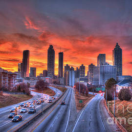 Reid Callaway - Red Sunset Atlanta Downtown Cityscape
