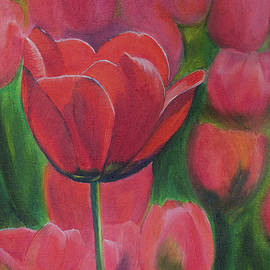 Elena Pavlova - Red tulips. Tulips in the field. Red flowers. Oil paints.