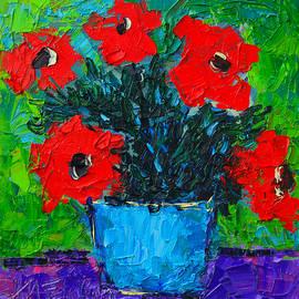 Ana Maria Edulescu - Red Wildflowers Modern Impressionist Palette Knife Oil Floral Miniature By Ana Maria Edulescu