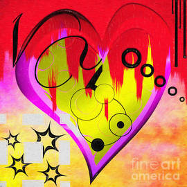L Wright - Red Yellow Purple Heart Painting Magically Mixed By L Wright