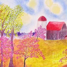 Conni Schaftenaar Elderberry Blossom Art - Redbud Trees in Spring Farm Scene
