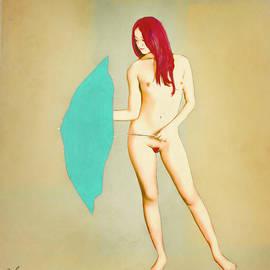 Salome Hooper - Redhead with Blue Umbrella