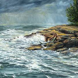 Eileen Patten Oliver - Resting On The Rocks at Plum Cove