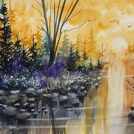 David K Myers - River Sun Watercolor