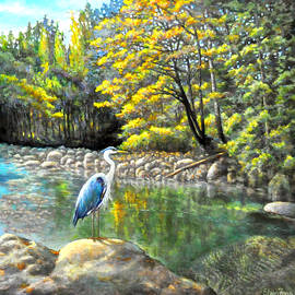 Eileen  Fong - Riverside Wonders with the Great Blue Heron