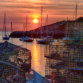 Jeff Folger - Rockport lobster pots and sailboats at sunrise