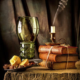 Jon Wild - Roemer Glass with Lemon Book and Candle