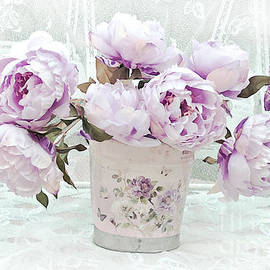 Romantic Vintage Lavender Shabby Chic Peonies - Lavender Pink Peonies - Kathy Fornal