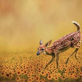 Jai Johnson - Romping In The Sunflower Field - Fawn Art by Jai Johnson