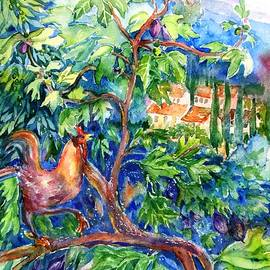 Trudi Doyle - Rooster in a Fig Tree, Tuscany
