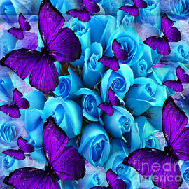 Saundra Myles - Roses And Purple Butterflies