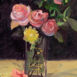 Marilyn Nolan-Johnson - Roses In A Glass Vase after Edouard Manet by Marilyn Nolan-Johnson