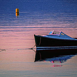 Marty Saccone - Runabout Moored at Sunset