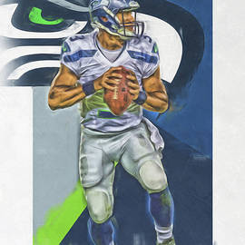 RUSSELL WILSON SEATTLE SEAHAWKS OIL ART 2 - Joe Hamilton