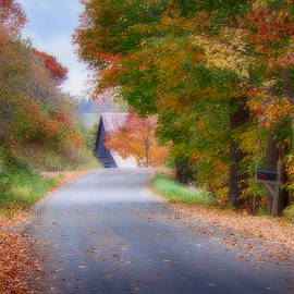 Jeff Folger - Rustic country Lane under Vermont fall colors
