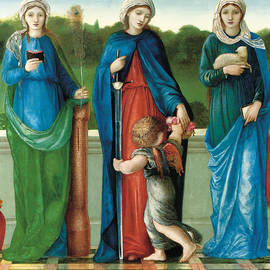 Saint Barbara and Saint Dorothy with Saint Agnes - Sir Edward Coley Burne-Jones