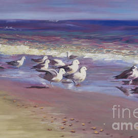 Marilyn Nolan-Johnson - Sand Pipers Enjoy Scenery by Marilyn Nolan-Johnson