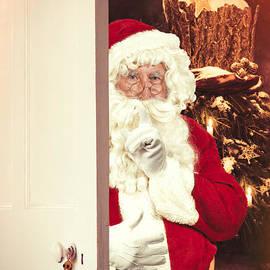 Santa Claus At Open Christmas Door - Amanda And Christopher Elwell