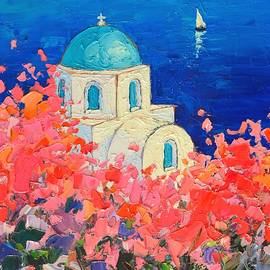 Ana Maria Edulescu - Santorini Impression - Full Bloom In Santorini Greece