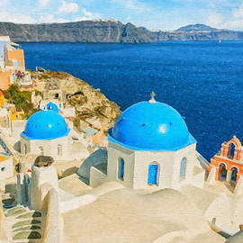 Antony McAulay - Santorini Oia Church Caldera View digital painting
