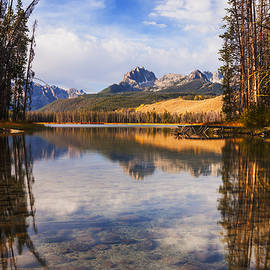Vishwanath Bhat - Sawtooth mountains through the trees in Stanley Idaho
