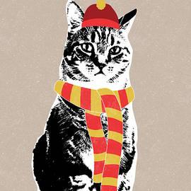 Scarf Weather Cat- Art by Linda Woods - Linda Woods