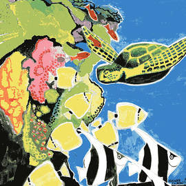 Genevieve Esson - Sea Turtle and Angel Fish
