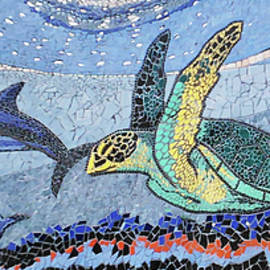Sea Turtle and Dolphins Tile Mural