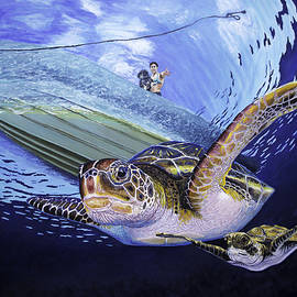 Manuel Lopez - Sea turtle family Original Oil Painting 30x40x1.5 inch