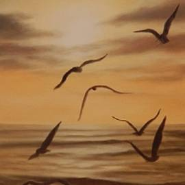 Ageliki Alexandridou - Seagulls at sunset
