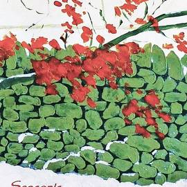 Seasonal Greeting Card With Dry Stone Wall